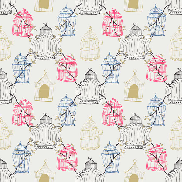 wallpaper with birds and cages